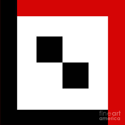 Digital Art - Red White And Black 15 Square by Andee Design