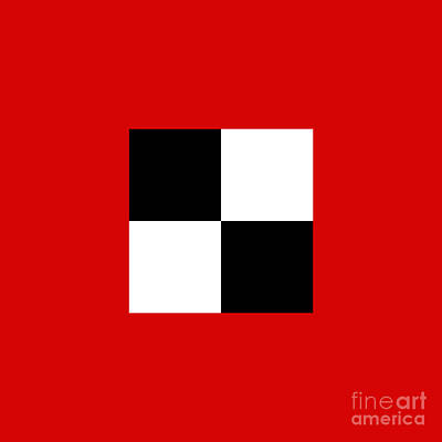 Digital Art - Red White And Black 18 Square by Andee Design