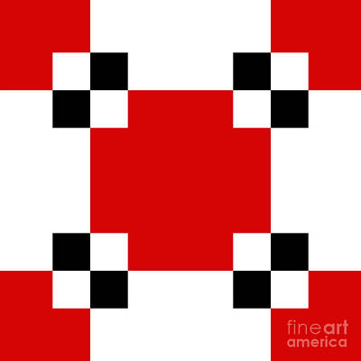Digital Art - Red White And Black 20 Square  by Andee Design