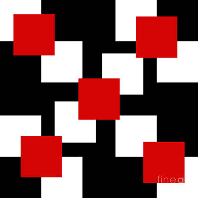 Digital Art - Red White And Black 23 Square by Andee Design