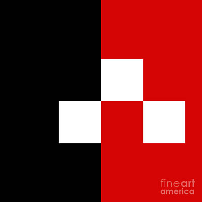 Digital Art - Red White And Black 8 Square by Andee Design