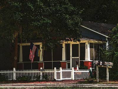 Art Print featuring the photograph Red White And Blue Cottage by Laura Ragland