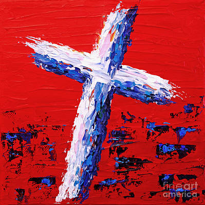 Red White And Blue Cross Art Print