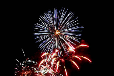 Photograph - Red White And Blue Fireworks by Gene Walls