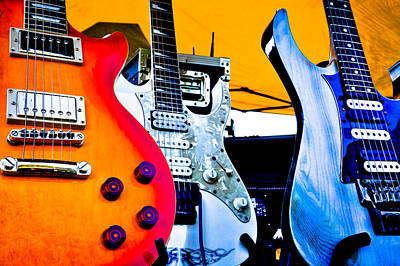 The Fabulous Kingpins Photograph - Red White And Blue Guitars by David Patterson