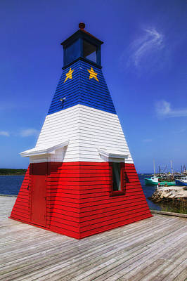Red White And Blue Lighthouse Art Print by Garry Gay