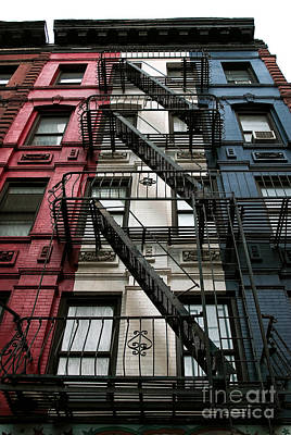 New York City Fire Escapes Photograph - Red White And Blue New York City by John Rizzuto