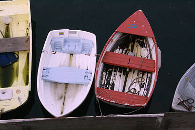 Row Boat Digital Art - Red White And Blue Row Boats by Lester Schwabe