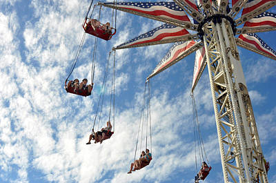 Red White And Blue Swings At Coney Island Art Print