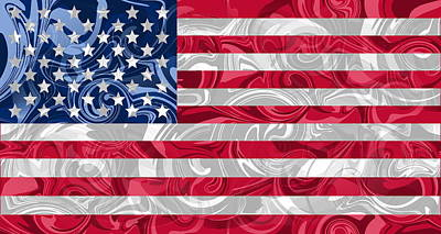 Flag Digital Art - Red White And Blue Swirls by Ron Hedges