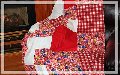 Quilts For Sale Photograph - Red White And Gingham With Flowery Blocks Patchwork Quilt by Barbara Griffin
