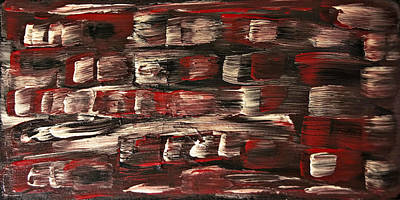 Painting - Red White Black Abstract-sold- Painting by Renee Anderson