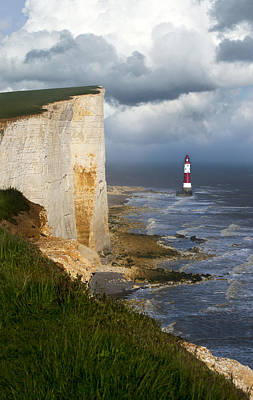 White Cliffs And Red-white Striped Lightouse In The Sea Art Print by Jaroslaw Blaminsky