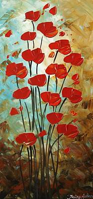 Flowerfield Painting - Red Wilde Poppis by Jolina Anthony