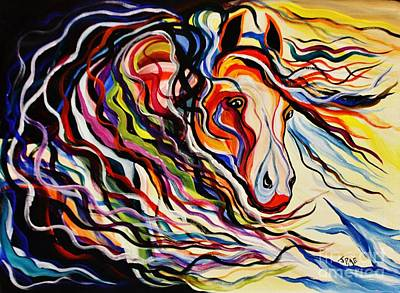 Animals Paintings - Red Wind Wild Horse by Janice Pariza
