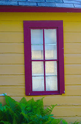 Photograph - Red  Window In A Yellow Wall by Lynn Hansen