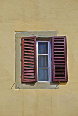Red Window Shutters Of Florence Art Print
