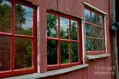 Photograph - Red Windows Paned by Christiane Hellner-OBrien