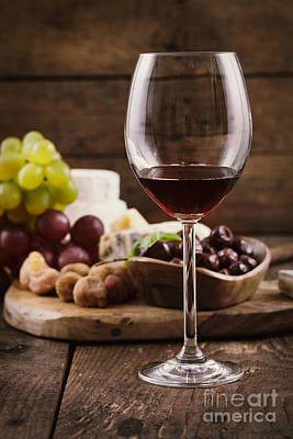 Pouring Wine Photograph - Red Wine And Cheese by Mythja  Photography