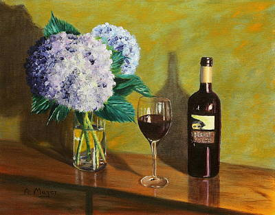Painting - Red Wine And Hydrangea by Alan Mager