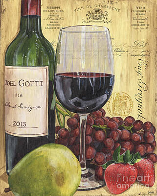 Interior Still Life Painting - Red Wine And Pear by Debbie DeWitt