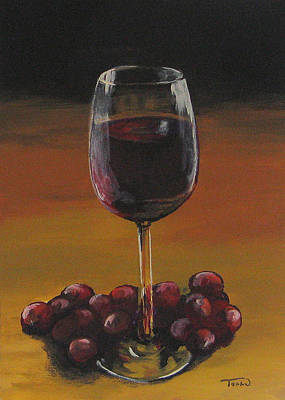 Red Wine And Red Grapes Art Print