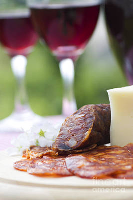 Table Wine Photograph - Red Wine And Sausage With Cheese by Mythja  Photography