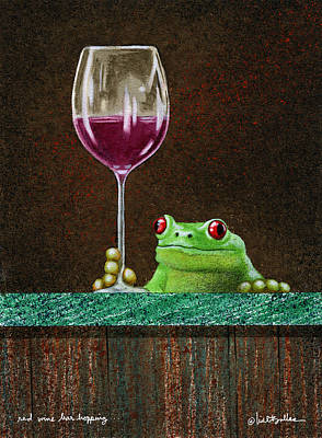 Red Wine Bar Hopping... Art Print
