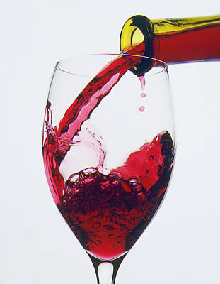 Pouring Wine Photograph - Red Wine Being Poured  by Garry Gay