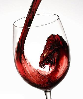 Red Wine Dragon Art Print by Kieth Goode