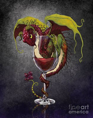 Wine Glass Digital Art - Red Wine Dragon by Stanley Morrison