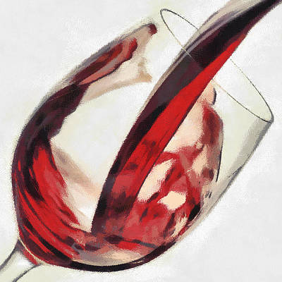 Pouring Wine Digital Art - Red Wine  Into Wineglass Splash by Georgi Dimitrov