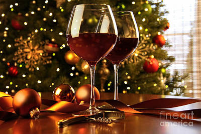 Photograph - Red Wine On Table Christmas Tree by Sandra Cunningham