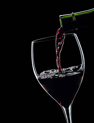 Red Wine Pouring Into Wineglass Splash Silhouette Print by Alex Sukonkin