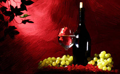 Wines Painting - Red Wine by VRL Art