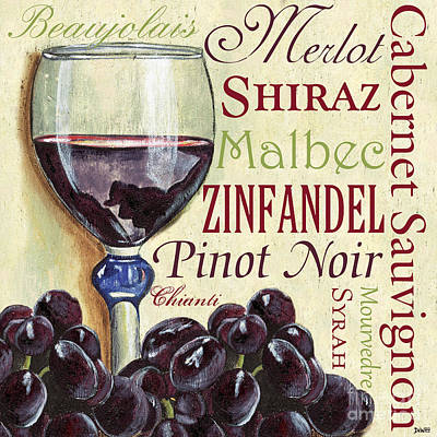 Purple Grapes Painting - Red Wine Text by Debbie DeWitt