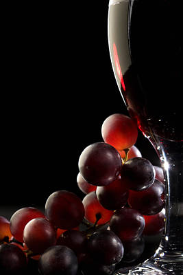 Black Background Photograph - Red Wine With Grapes by Johan Swanepoel