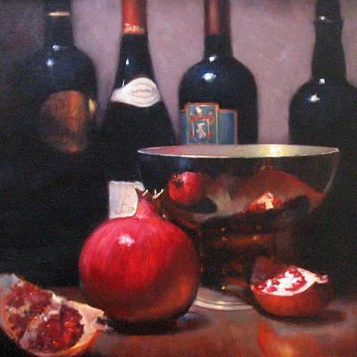 Red Wine With Pomegranates Art Print by Takayuki Harada