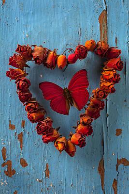 Red Wing Butterfly In Heart Art Print by Garry Gay