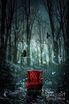 Red Wing Chair In Forest At Twilight Print by Sandra Cunningham
