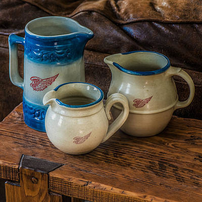 Crock Photograph - Red Wing Pitchers by Paul Freidlund
