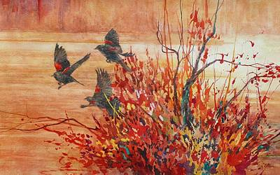 Wall Art - Painting - Red-winged Blackbirds by Floy Zittin