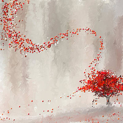 Maple Leaf Art Painting - Red Winter by Lourry Legarde