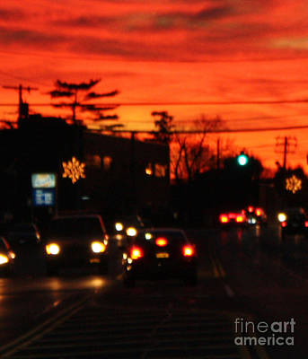 Red Winter Sunset Over Long Island Suburbs Art Print by John Telfer
