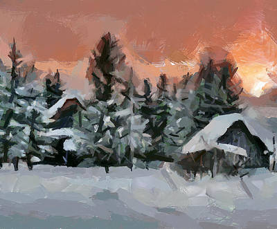 Digital Art - Red Winter Sunset by Yury Malkov