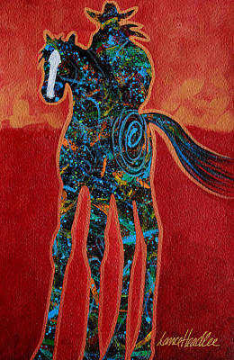 Contemporary Cowboy Painting - Red With Rope by Lance Headlee