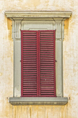 Photograph - Red Wood Weathered Window Shutter Of Tuscany by David Letts