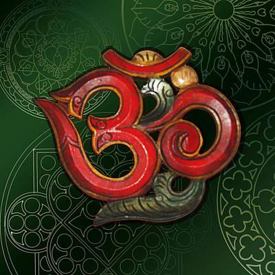 Digital Art - Red Wooden Om Green Mandala by ReadyForYoga Online-Shop