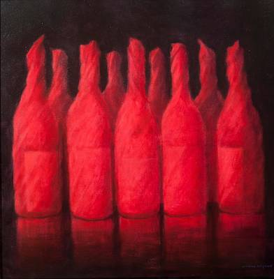 Wine Bottle Painting - Red Wrapped Wine by Lincoln Seligman