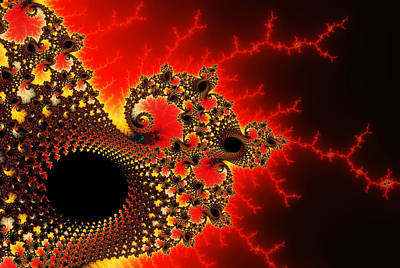 Abstract Digital Photograph - Red Yellow And Black Fractal Flashes And Spirals by Matthias Hauser